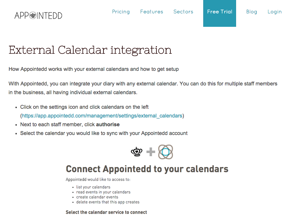 Appointedd Calendar Integration