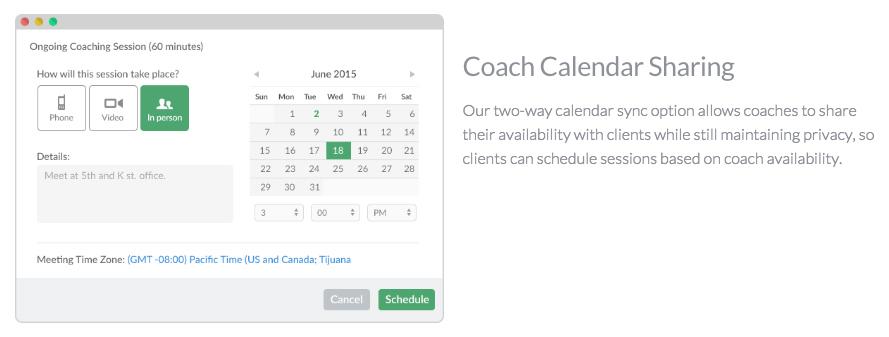 CoachLogix Calendar Sharing
