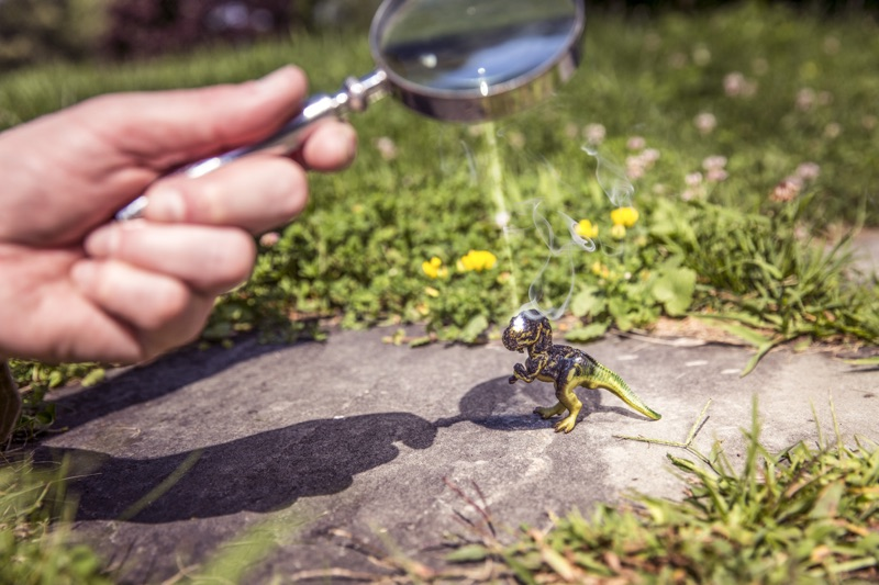 Toy under magnifying glass