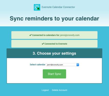 Evernote Calendar Connector